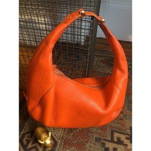Cole Haan-Orange Leather Shoulder Satchel-Tote